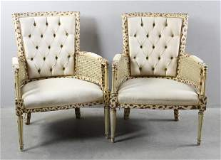 Pair of English Regency Style Paint Decorated Armchairs