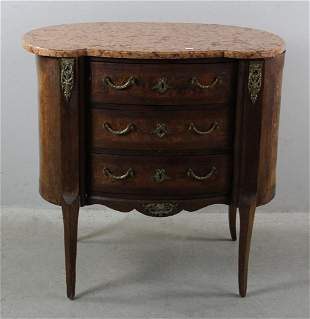 French Chest with Marble Top and Three Drawers