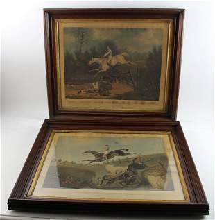 Two Framed Equestrian Colored Engraving Prints