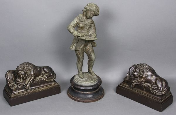 8022: (3) White Metal Items, Boy and Lion Bookends
