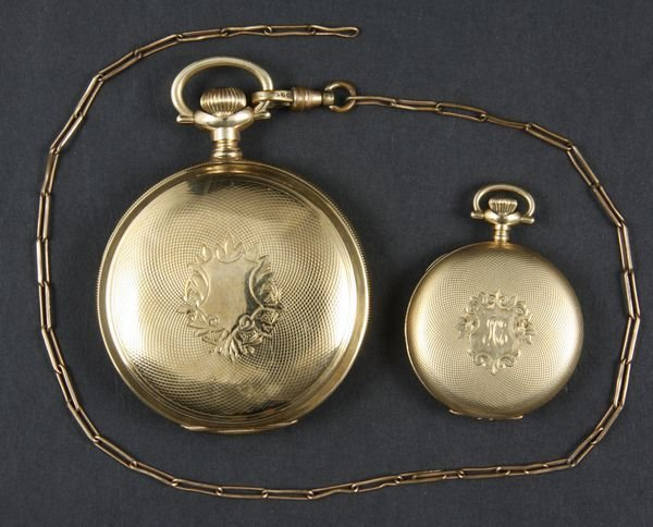 8203A: (2) 14k Hunter-Case Waltham Pocket Watches