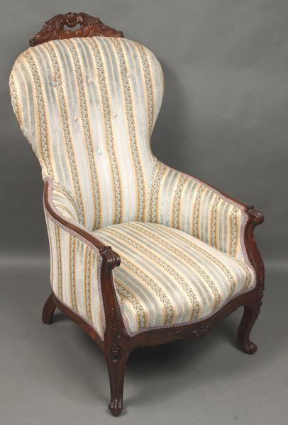 8003: 19th C. Victorian Carved Rosewood Chair