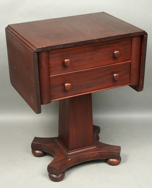 8009: 19/20th C. Empire 2-Drawer Drop-Leaf Stand