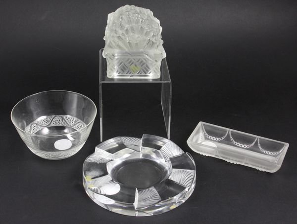 8019: Four (4) Pieces of Lalique Glass, Signed