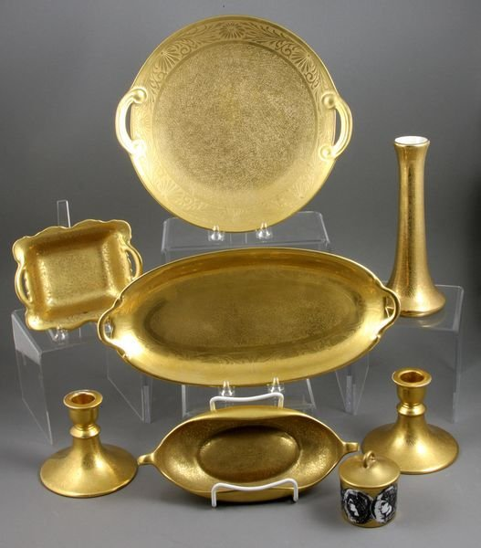 8004: (8) Assorted pcs Gold-Decorated China