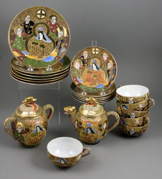 8008: Early 20th C. Japanese Partial Tea Set, Moriage