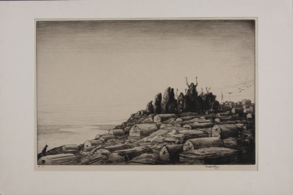 "8021A: Charles Cain, ""Lamentations"", Original Drypoint"