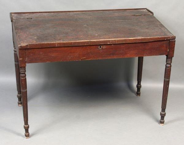 9004: Early 19th C. Sheraton Walnut Paymaster Desk