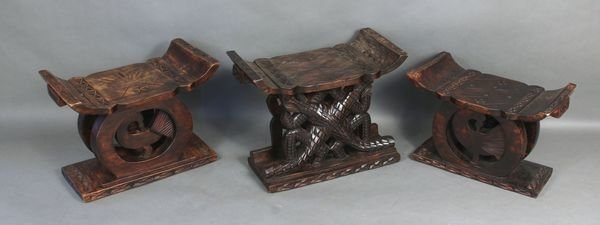 9020: Set of Three (3) Carved Wooden Stools