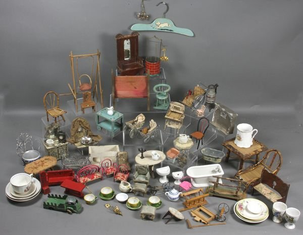 9197: Large Lot of Doll Furniture, Dishes, Toys, etc.