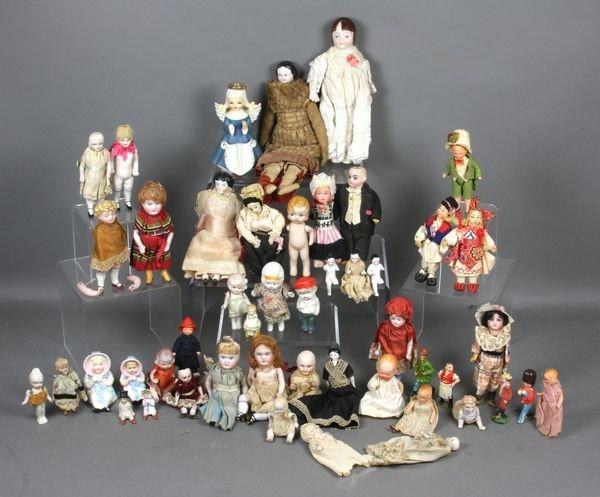 9199: (48) Miniature Dolls, Bisque, China Head, Cloth