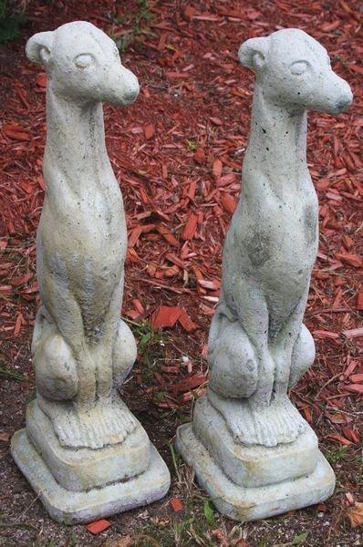 "9011: Pair of Cement ""Whippet"" Garden Figures"