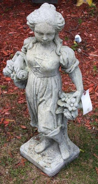 9022: Cement Garden Ornament Figure of Girl