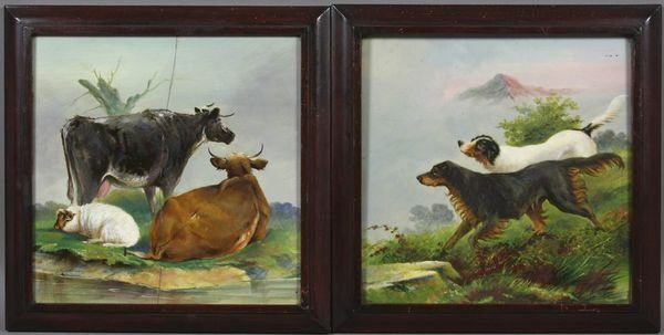 9002: (2) Minton Painted Ceramic Tiles, Dogs & Cattle