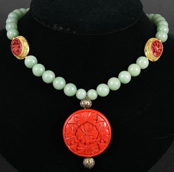 9003: 1930s Chinese Jade, Cinnabar, Silver Necklace