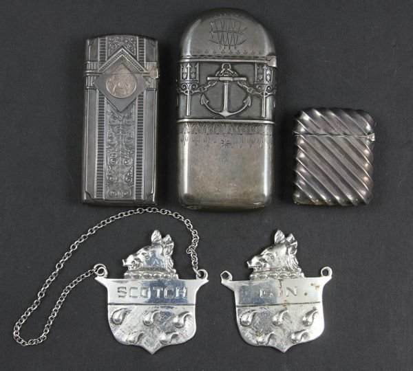 9008: Group of Sterling Liquor Tags & Match Cases