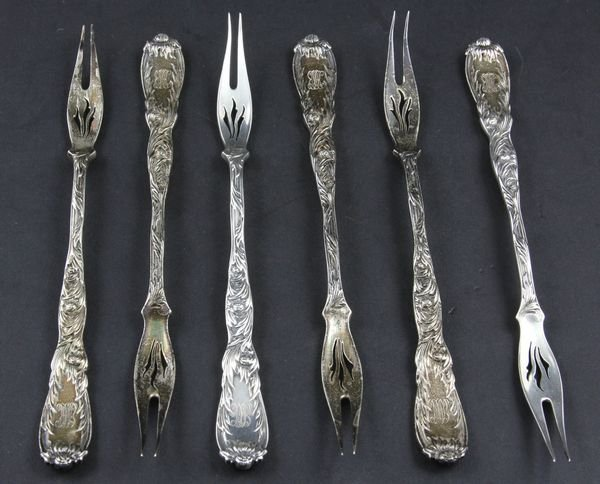 9058: Set, (6) Tiffany Chrysanthemum Sterling Forks