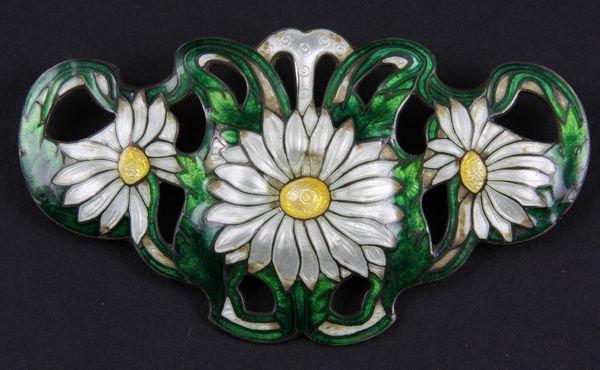 9005: 1920s Art Nouveau Sterling Enameled Pin
