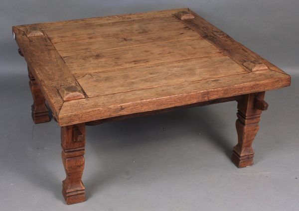 9014: Antique Carved Rustic Low Table