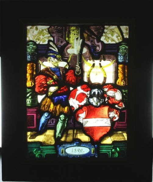 12: Continental Stained Leaded Glass Window