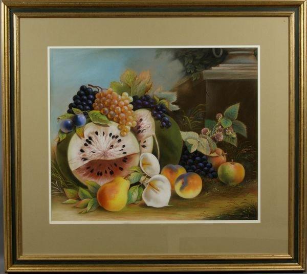 13: Signed Bower, 19th C. Still Life of Fruit, Pastel