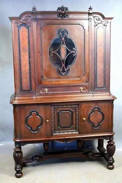 15: 1920s American Walnut Cabinet w/Glass Doors