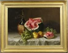135A: George Loftus Noyes, Still Life Wine & Fruit, o/c