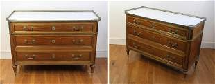 French Regency Style Marble-top Chests