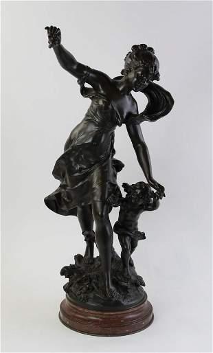 19thC Moreau Sculpture on Marble Base