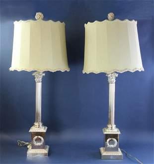 Silver Sheffield Plated Corinthian Column Lamps
