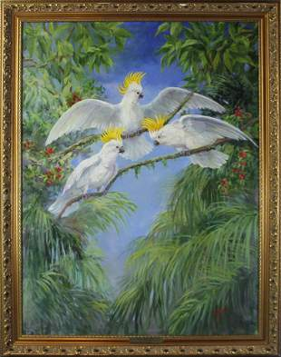 Evelyn Wallace, Cockatoos, Oil on Canvas