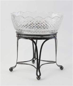 Cut Crystal Centerpiece Bowl on Stand
