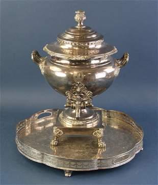 19thC English Sheffield Plate Hot Water Urn