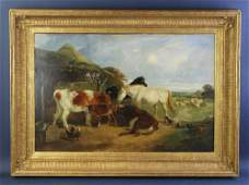 JF Herring, Farmyard Scene, Oil on Canvas