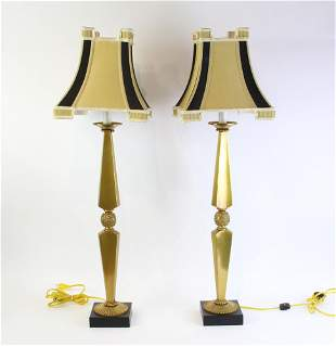 Neoclassical Brass Lamps, Pair