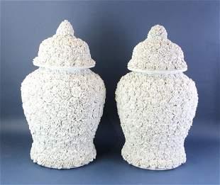 Italian Covered Vases Pair