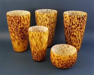 Tortoiseshell Pattern Vases and Bowl