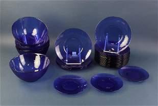 Cobalt Blue Basket Weave Bowls