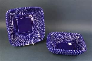 Lillian Vernon Blue Basket Weave Bowls