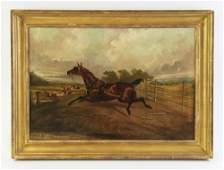 19thC English, Runaway Horse, Oil on Canvas