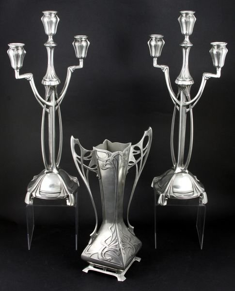 2004: Pair of Candlesticks & Vase by Achille Gamba