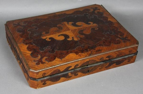 2006: 19th C. Inlaid Game Box w/ Ivory Chips Inside