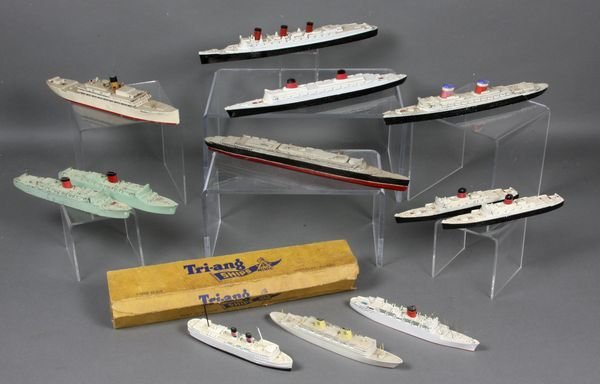 2014: (9) Tri-Ang Metal Toy Ship, (3) Wooden Ships