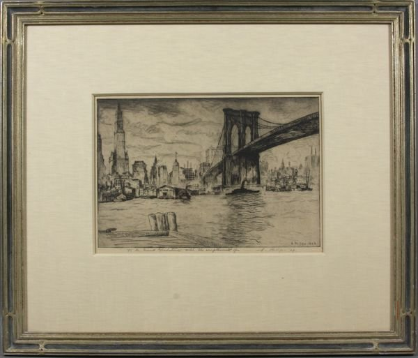 2018: A. Phillips Etching of Brooklyn Bridge, NY, 1929