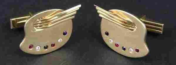 2152: Pair of 14k Cufflinks w/ Diamonds, Rubies, etc.