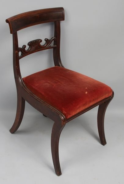 3004: Early 19thC. Boston Mahogany Saber-leg Chair