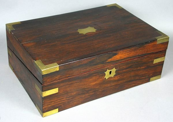 3010: 19th C. Rosewood Brassbound Fitted Box