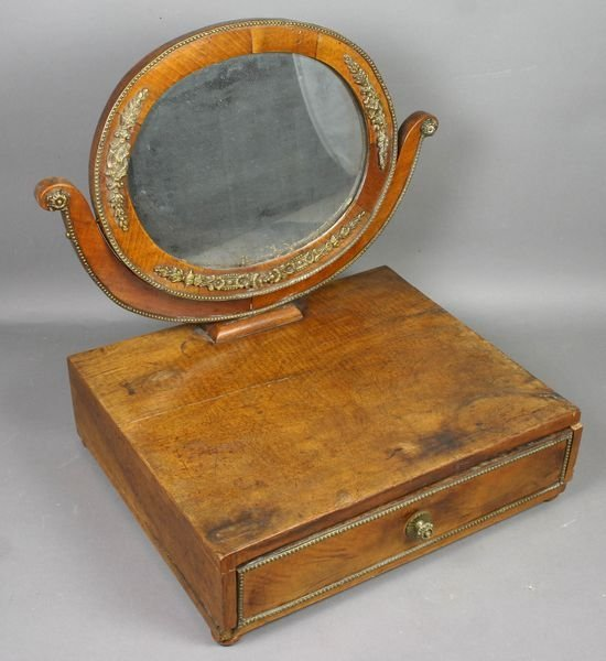 3016: Early 19th C. French Walnut Shaving Mirror