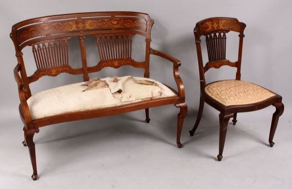3018: 19th Century Fine Inlaid Settee and Chair
