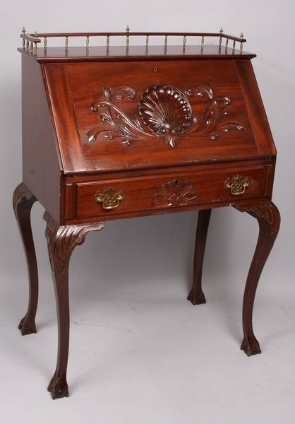 3023: Fine 19th C. Carved Slant-lid Desk w/ Gallery